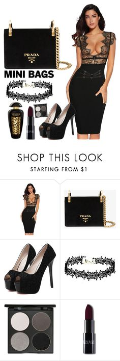"""""""black lace"""" by tammy-ryall ❤ liked on Polyvore featuring Prada, WithChic, Gorgeous Cosmetics and The Merchant Of Venice"""