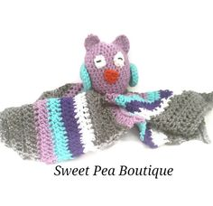 This adorable crochet owl baby lovey blanket is perfect for your little one. It is made with soft acrylic yarn and the owl is doomed with polyfil filling. The blanket measures 14 by 17 and is perfect for little hands. This crochet blanket is the perfect baby shower or newborn gift. Check out our other items: https://www.etsy.com/listing/399234507/monkey-blanket-monkey-blanket-baby?ref=shop_home_active_9