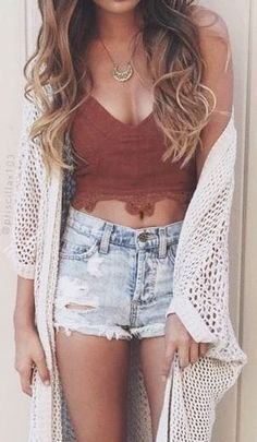 #summer #outfits / lace crop top + cardigan