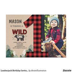 Baby Boy 1st Birthday, First Birthday Parties, First Birthdays, Birthday Ideas, Happy Birthday, First Birthday Invitation Cards, Wild One Birthday Invitations, Invites, Lumberjack Party