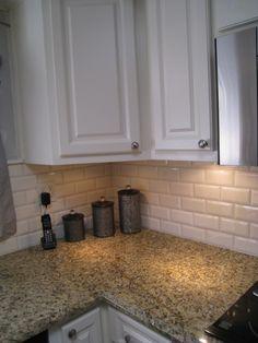 White Beveled Subway Tile. Kitchen ...