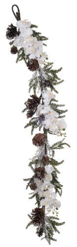 House of Silk Flowers Artificial Iced Phalaenopsis OrchidPine Garland 60Inch * For more information, visit image link. (This is an affiliate link and I receive a commission for the sales)