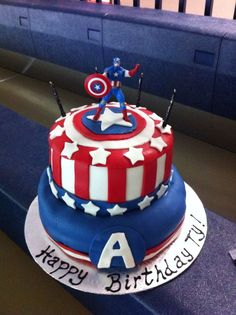 Inspiration Picture of Captain America Birthday Cake . Captain America Birthday Cake Captain America Fondant Cake Visit To Grab An Amazing Super Hero Avengers Birthday Cakes, Themed Birthday Cakes, 1st Boy Birthday, Captain America Birthday Cake, Captain America Party, Pastel Capitan America, Anniversaire Captain America, Superhero Cake, New Cake