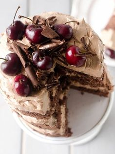 "Three layers of chocolate cake, with loads of chocolate frosting, cherries and cherry syrup on each layer … delish! ""Chocolate Cherry Amaretto Cake"" by Natasha @ The Cake Merchant ~ x debra   Bloglovi"