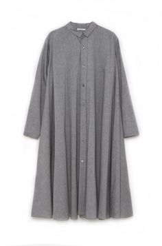 Pleated Shirtdress in Grey Oxford by 6397