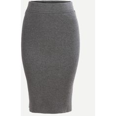 Grey Split Dual Pockets Knit Pencil Skirt (76 SEK) ❤ liked on Polyvore featuring skirts, grey, summer skirts, knee length pencil skirt, knee high skirts, knee length skirts and grey pencil skirt