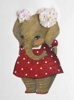 Her name is Ellie. by Chie Shimabukuro Happy Elephant, Elephant Love, Baby Animal Drawings, Elephants Photos, Canvas Art Quotes, Elephant Illustration, Elephant Canvas, Fabric Animals, Baby Tattoos