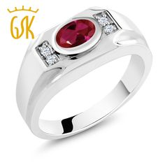 Classic jewelry 1.71 Ct Red Created Ruby White Created Sapphire 925 Sterling Silver Men's Ring vintage simple gemstone ring #Affiliate