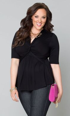 Caycee Twist Top in Black at Curvalicious Clothes www.curvaliciousclothes.com TAKE 15% OFF Use code: TAKE15 at checkout