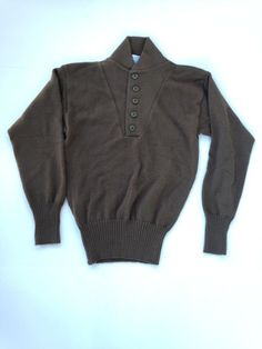 Vintage US ARMY Military Mens Sweater Brown 5 button DSCP EXCELLENT CONDITION!!!