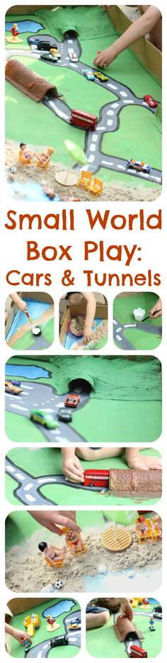 Small World Box Play - Cars & Tunnels Toddler Play, Preschool Activities, Transportation Theme, Small World Play, Play Based Learning, Dramatic Play, Creative Play, Early Childhood Education, Sensory Play