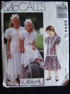 McCalls Girls Formal Lace Dress Pattern 6944 Size 10 by Vntgfindz