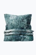Ellos Home Sengesæt Nadine af vasket bomuldspercale Blå/grøn - Sengesæt | Ellos Mobile