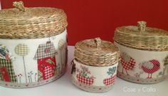 Cose y calla : ideas decoración Fabric Boxes, Quilling, Couture, Needlework, Ikea, Decorative Boxes, Projects To Try, Basket, Textiles
