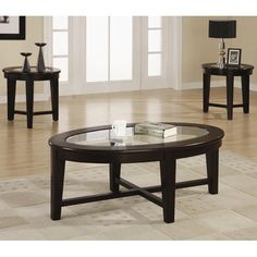 3 Piece Table Set with Tempered Glass Insert