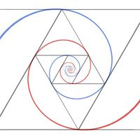 golden triangles instead of the golden rectangle. The spirals end up a different shape but the ratio of the triangles to one another is still golden.