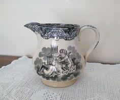 Brocca in ceramica - Vintage brocca con angeli - Antica caraffa smaltata di VintaFai su Etsy