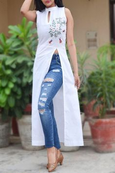 A line kurti - Buy White Pure Linen Embroidered ALine Kurti by Colorauction Online shopping for Kurtis in India Dress Indian Style, Indian Fashion Dresses, Indian Designer Outfits, Designer Dresses, Fashion Outfits, Indian Outfits, Indian Gowns, Kurta Designs Women, Blouse Designs