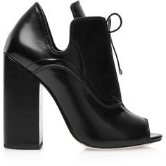 Ellery Boardwalk Leather Ankle Boots in Black (365 BHD) ❤ liked on Polyvore featuring shoes, boots, ankle booties, heels, heel boots, scarpe, black, peep-toe booties, black high heel booties and high heel booties
