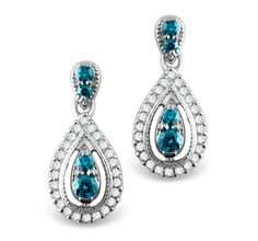 Add Some Dazzle to Your Ears with these Caribbean Blue Diamond Drop Earrings set in White Gold.