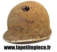 WWII CASQUE US M1 39/45 JONC AVANT + LINER + FILET + JUGULAIRE d.