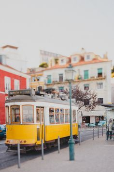 Yellow Tram Photograph Lisbon Photo Travel by hellotwiggs on Etsy