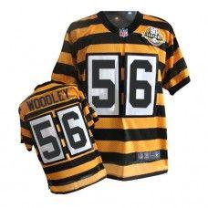 NFL Men's Elite Nike  Pittsburgh Steelers #56 LaMarr Woodley Alternate 80TH Anniversary Throwback Yellow Jersey $129.99