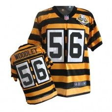 NFL Men's Elite Nike  Pittsburgh Steelers #56 LaMarr Woodley Alternate 80TH Anniversary Throwback Yellow Jersey $129.99