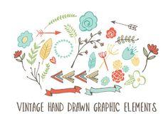 26 Vintage Hand Drawn Elements by OnTheSpotStudio on Creative Market