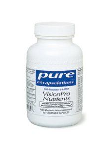 Pure Encapsulations - Vision Pro Nutrients 90 vcaps by Pure Encapsulations. $33.50. With Metafolin L-5-MTHF. Comprehensive multivitamin/mineral complex for maintaining healthy vision. Indications: -Men and women ages 18 and over  Vitamin Distinctions: -Clinically researched levels of vitamin C, vitamin E, zinc and copper in highly bioavailable forms to support healthy vision and eye integrity -Contains 5,000 i.u. of vitamin A per serving to support night vision and h...