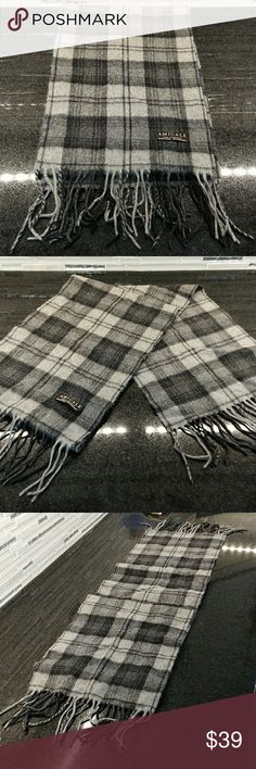 AMICALE PURE CASHMERE PLAID SCARF GREY 64 x 10.5 Good used condition. May show some wrinkling from storage. Only worn a few times. Half the label needs to be resewn to the scarf. amicale Accessories Scarves