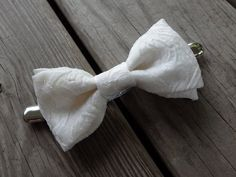 Bow Tie White Bow Bridal Bow Cinch Clip White by LovelyBride2B
