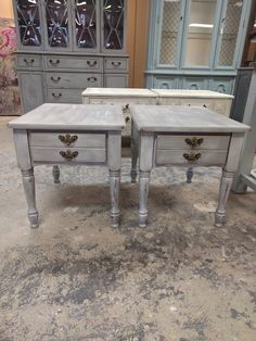 Here Are Two Cute End Tables I Painted French Gray With A White Wash  Technique. They Would Fit Into Any Living Room Decor Donu0027t You Agree? The  Dimu2026