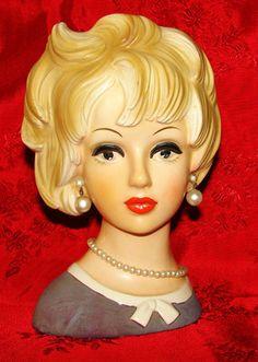 "VINTAGE RARE 1950's RELPO K1940 Lady Head Vase LOVELY LARGE 7"" tall"