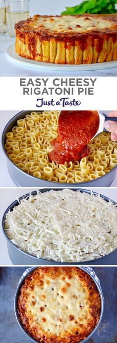 Easy Cheesy Rigatoni Pie Recipe Take traditional pasta to a whole new level with a family favorite recipe for Easy … Rigatoni Pie, Rigatoni Recipes, Pie Recipes, Gourmet Recipes, Cooking Recipes, Chicken Recipes, Vegan Recipes, Pizza Und Pasta, Good Food