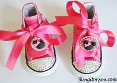 New Minnie Mouse Inspired Bling shoes Blinged with Swarovski Crystals. $65.99 Available in 2 through 10 toddler sizes.  To order click the link to our site: http://blingitonyou.com/products/minnie-mouse-inspired-hightop-bling-shoes