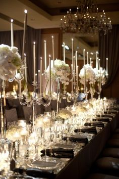 dramatic candle wedding centerpieces