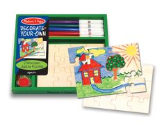 There's an open invitation to creativity with this design your own puzzle kit. This kit includes two 12-piece wooden jigsaw puzzles, 5 markers, 4 pots of paint and a brush! Draw or paint a picture on the assembled puzzle, then enjoy taking it apart and reassembling your own masterpiece!
