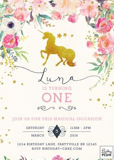 Unicorn Birthday Invitation / Horse Birthday by LuckyPlumStudio