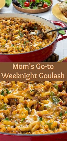 Mom's Go-To Weeknight Goulash is super easy and budget-friendly, making it a great weeknight dinner recipe! This family-friendly dinner is made with ground beef, elbow macaroni, a couple of veggies and your family's favorite spaghetti sauce. Everything cooks together in one skillet, and, right before it's served, it's topped with some yummy cheese. The results are delicious!
