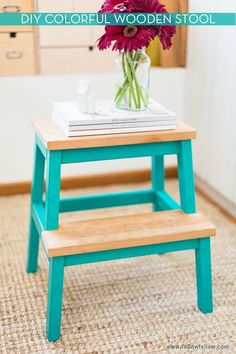 I have this stool and it's in desperate need of an update! This is perfect!   Make It: Colorful Wooden Stool » Curbly | DIY Design Community
