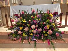 """Easter Sunday Flowers at """"Prince of Peace"""" Catholic Church Altar Flowers, Church Flowers, Funeral Flowers, Easter Flower Arrangements, Funeral Flower Arrangements, Floral Arrangements, Wedding Altars, Wedding Ceremony Flowers, Altar Decorations"""