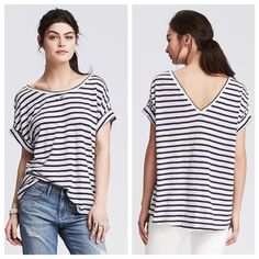 Banana Republic Orange Striped Drapey Top Tangerine and white stripes adorn this trendy slouchy top from Banana Republic. 100% cotton with a boxy shape and a slight high low hem. Size S could easily fit a M because of its oversize shape. Please note that the cover shot is for styling purposes only; the orange top for sale is shown in picture #2, 3 and 4. In excellent condition with no holes, stains or tears. Worn once or twice. Please ask questions before purchase as all sales are final…