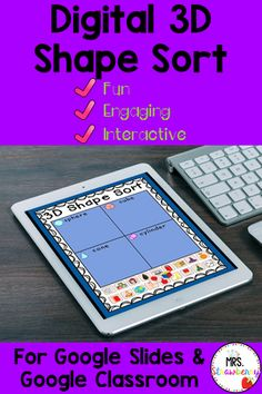 This Digital 3D Shape Sort activity is designed for Google Classroom and Google Slides. Ideal for distance learning, home school and for in the classroom. Practice and review 3D shapes with this engaging activity involving real life objects. Use this activity for centers, rotations, stations or assign to your whole class. Kindergarten and Preschool students will love learning their 3D shapes with this activity. {first grade, 1st grade, prep} Kindergarten Centers, Math Centers, Sorting Activities, Summer Activities, Classroom Fun, Google Classroom, Shape Sort, 2d And 3d Shapes, Math Resources