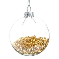Pallina natalizia dorata in vetro 6 cm PLUIE DE PAILLETTES   - Venduto x 12