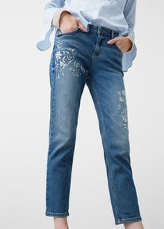 Crotia embroidery straight jeans