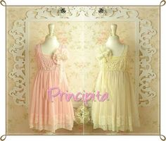 Boutique Vintage Chiffon & Lace Dress - 1 each in Pink and Ivory, each in Size 6/7