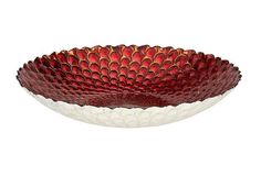 Stunning Red Silver Gold Rich Texture Peacock Bowl Beautiful Glass Serving Dish