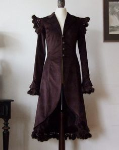 VERY FEMININE bitter chocolate COAT with CROCHETED by couvert, $295.00