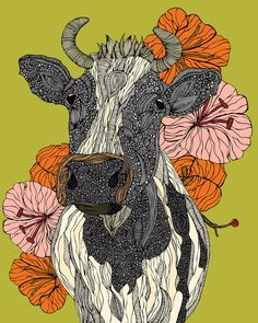 The vivid animal drawings by Miami, Florida based artist Valentina Harper (formerly Valentina Ramos). Valentina loves to use different materials, mixed Art Et Illustration, Illustrations, Wall Art Prints, Poster Prints, Canvas Prints, Posters, Wall Mural, Taurus, Murals Your Way